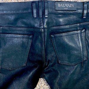 32w BALMAIN BLACK Nwot COATED & WAXED PERFECTLY